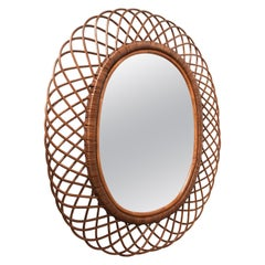Midcentury French Riviera Franco Albini Rattan and Bamboo Oval Mirror Italy 1960