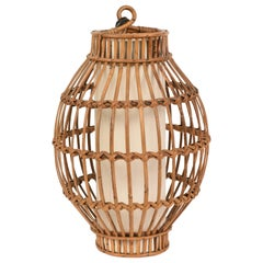 Midcentury French Riviera Franco Albini Rattan and Wicker Chandelier, 1960s