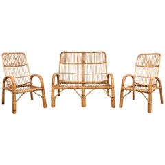 Midcentury French Riviera Italian Three Elements Bamboo and Rattan Set, 1960s