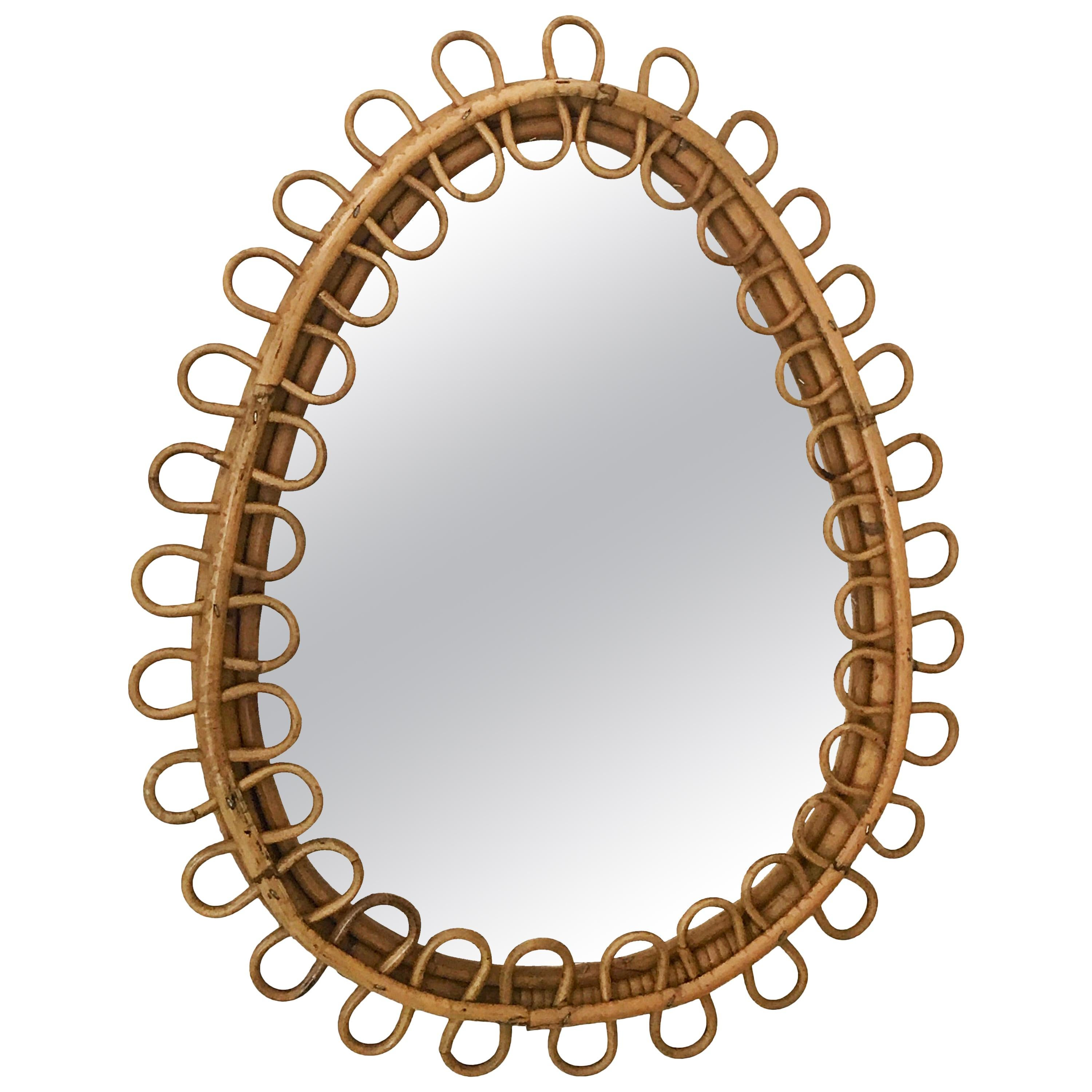 Midcentury French Riviera Oval Bamboo and Rattan Italian Wall Mirror, 1960s