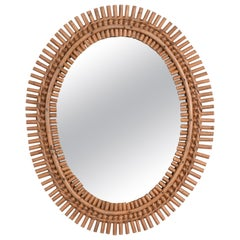 Midcentury French Riviera Oval Wall Mirror with Bamboo and Rattan Frame, 1960s