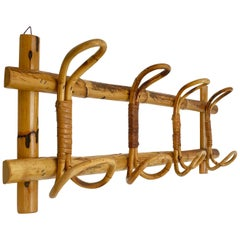 Midcentury French Riviera Rattan and Bamboo Canes Italian Coat Rack, 1960s