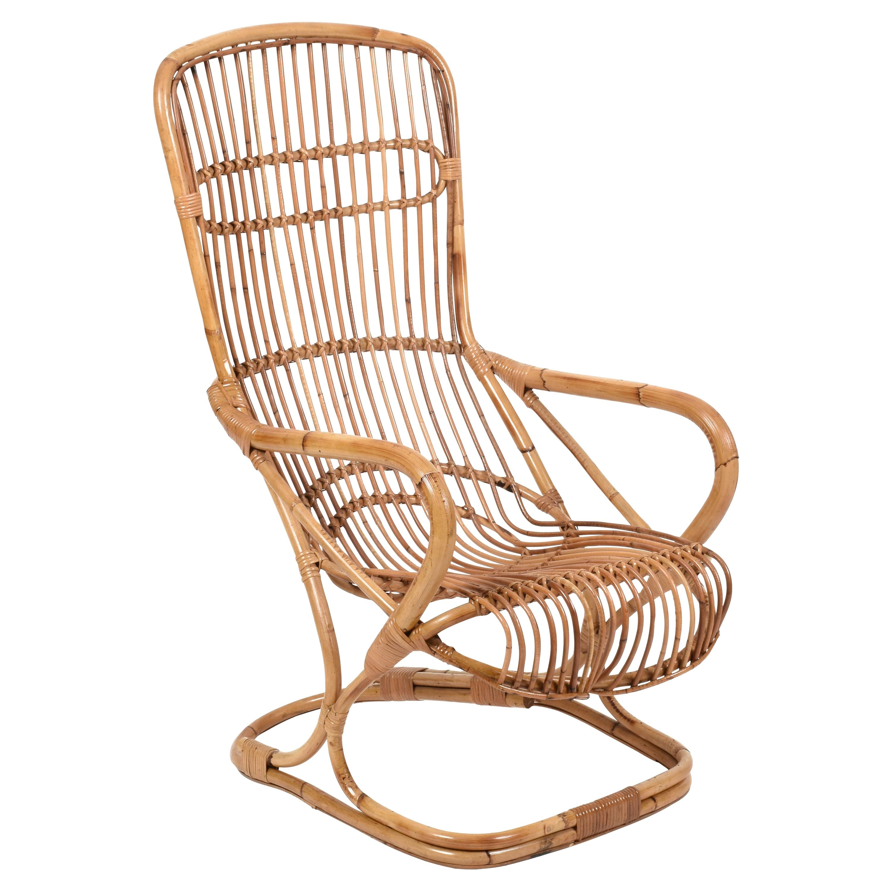 Midcentury French Riviera Rattan and Bamboo Italian Armchair, 1960s
