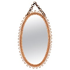 Midcentury French Riviera Rattan and Bamboo Italian Oval Mirror, 1950s