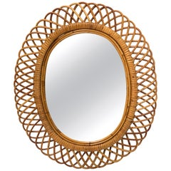 Midcentury French Riviera Rattan and Bamboo Italian Oval Mirror, 1960s