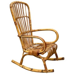 Midcentury French Riviera Rattan and Bamboo Italian Rocking Chair, 1960s