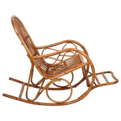 Midcentury French Riviera Rattan and Bamboo Italian Rocking Chair, 1970s