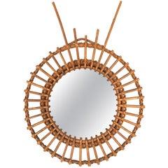 Midcentury French Riviera Rattan and Bamboo Italian Round Mirror, 1950s