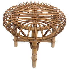 Midcentury French Riviera Rattan and Bamboo Wires Italian Stool, 1960s