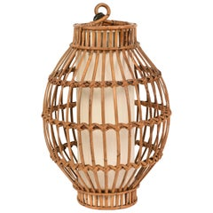 Midcentury French Riviera Rattan and Wicker Italian Chandelier, 1960s