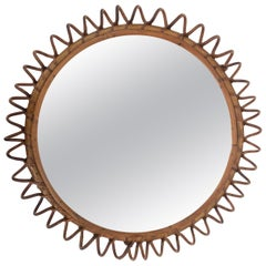 Midcentury French Riviera Round Rattan and Glass Italian Wall Mirror, 1970s