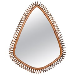 Midcentury French Riviera Spiral Bamboo and Rattan Italian Oval Mirror, 1950s