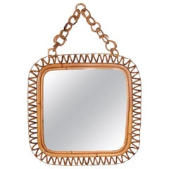 Midcentury French Riviera Spiral Bamboo and Rattan Italian Square Mirror, 1960s