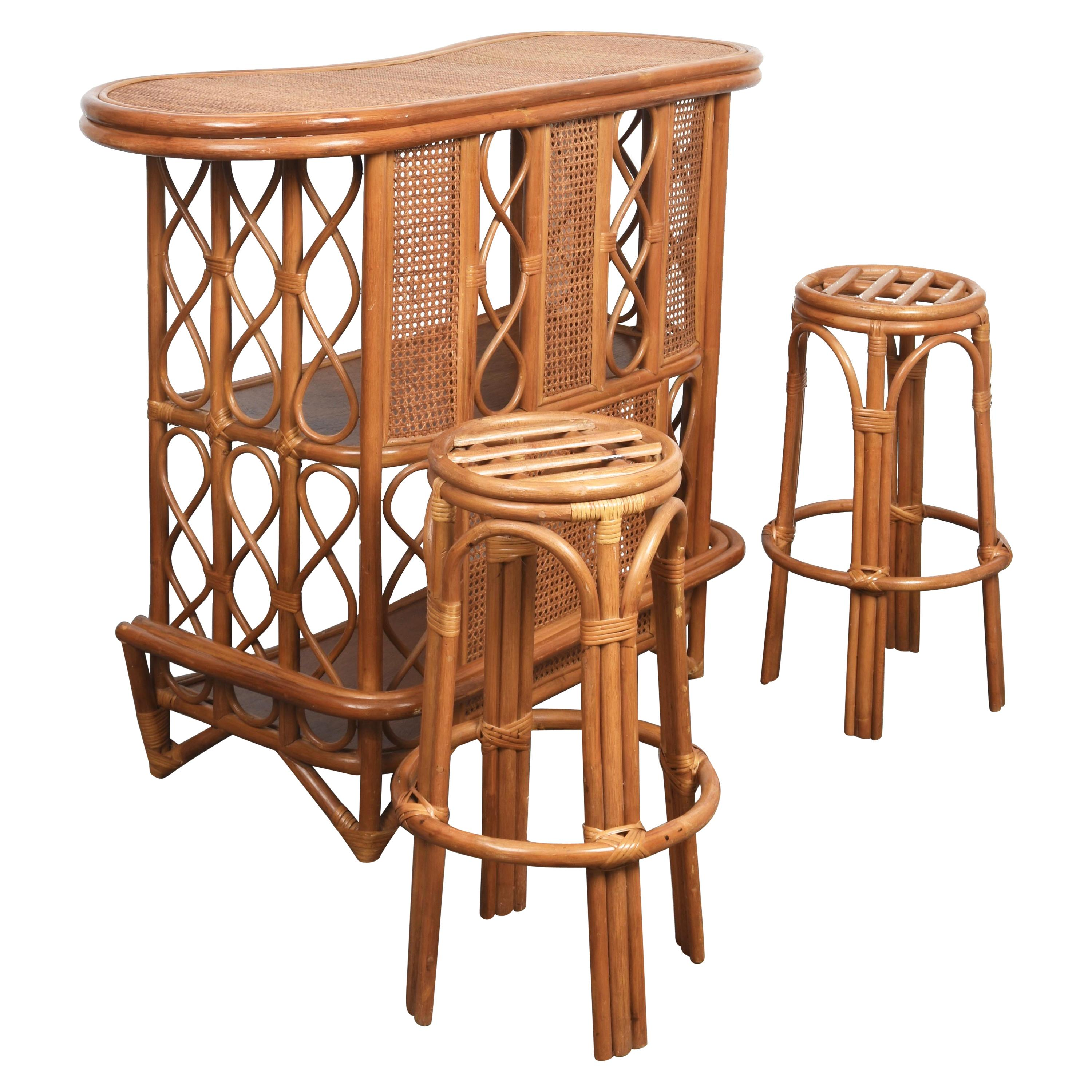Midcentury French Riviera Wien Rattan and Bamboo Dry Bar, Italy, 1960s