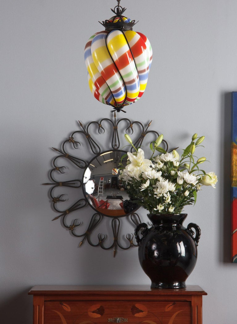 Midcentury French Round Iron Framed Convex Mirror, 1950s For Sale 4