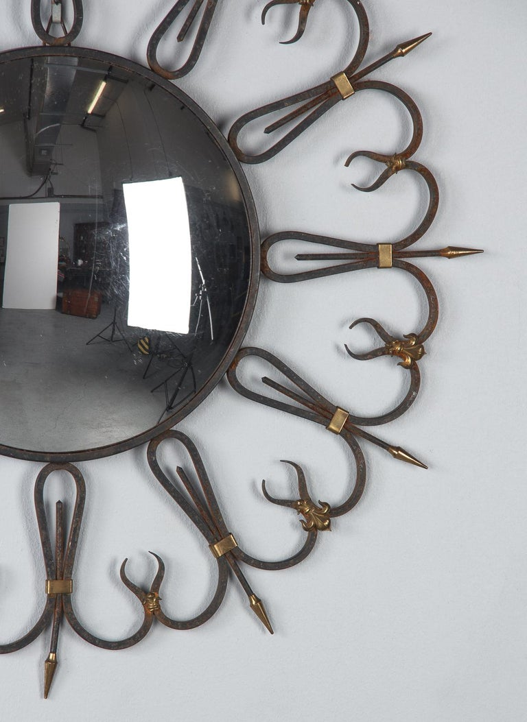 20th Century Midcentury French Round Iron Framed Convex Mirror, 1950s For Sale