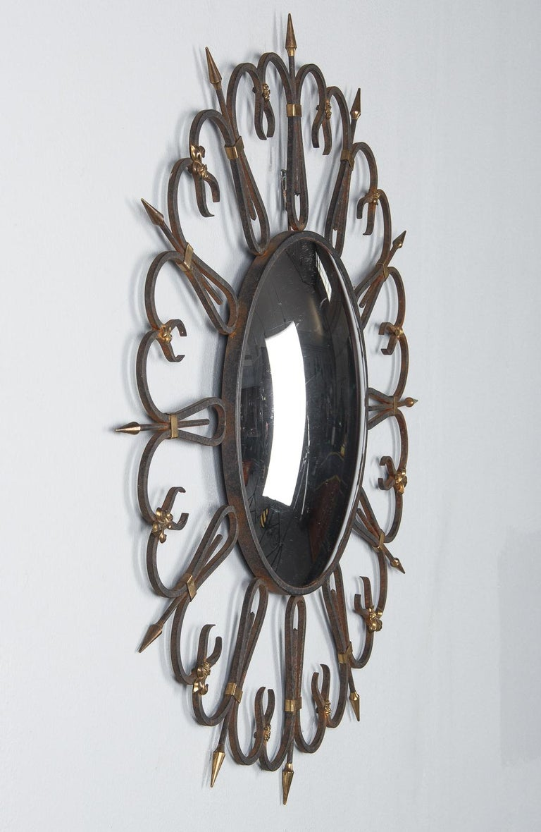 Midcentury French Round Iron Framed Convex Mirror, 1950s For Sale 1