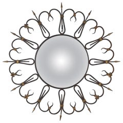 Midcentury French Round Iron Framed Convex Mirror, 1950s