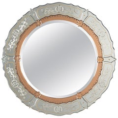 Midcentury French Round Venetian Mirror