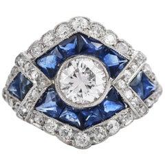 Midcentury French Sapphire Diamond Platinum Cocktail Engagement Ring