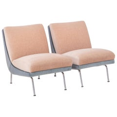 Midcentury French Sea Foam and Taupe Mohair Lounge Chairs, Set of Two