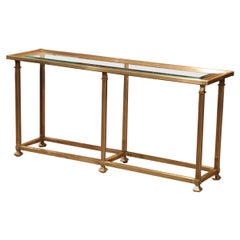 Midcentury French Six-Leg Brass and Beveled Glass Console Table Jansen Style