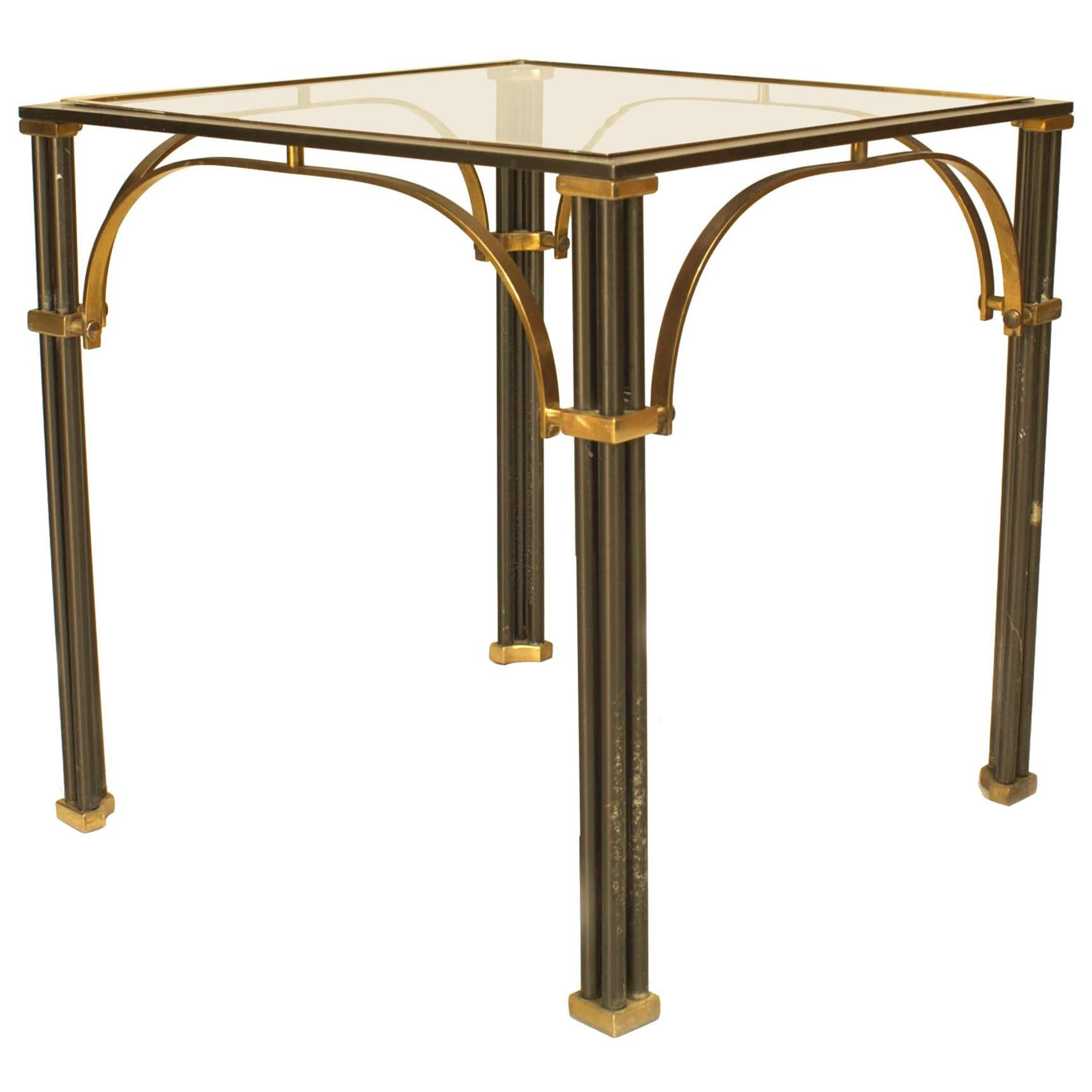 Midcentury French Steel and Brass End Table, Attributed to Maison Jansen