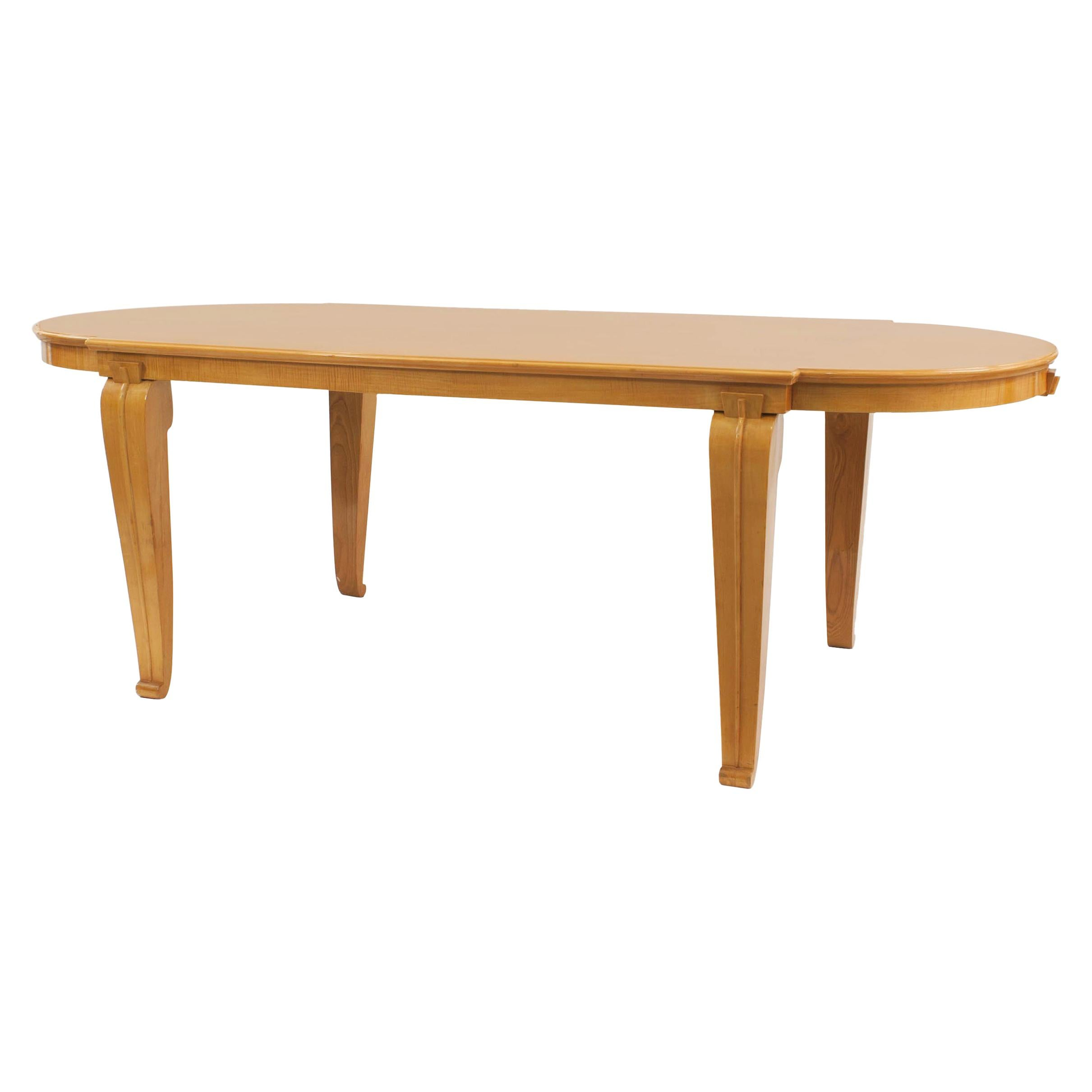 Midcentury French Sycamore Dining Table, Attributed to André Arbus