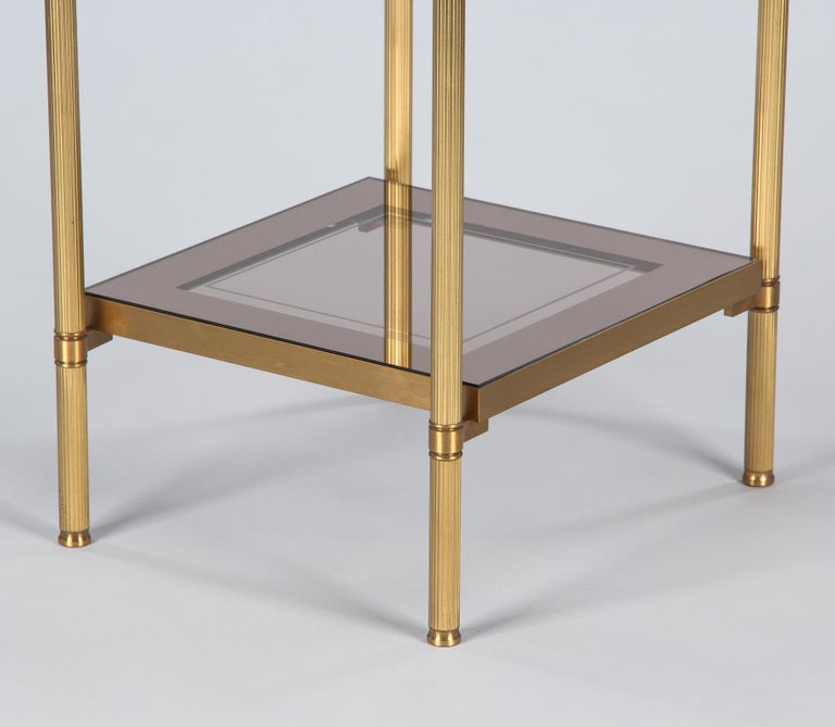 Midcentury French Two-Tier Brass and Glass Side Table, 1950s For Sale 5