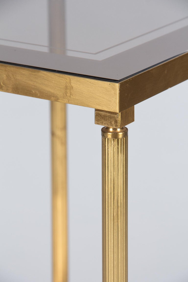 Midcentury French Two-Tier Brass and Glass Side Table, 1950s For Sale 8