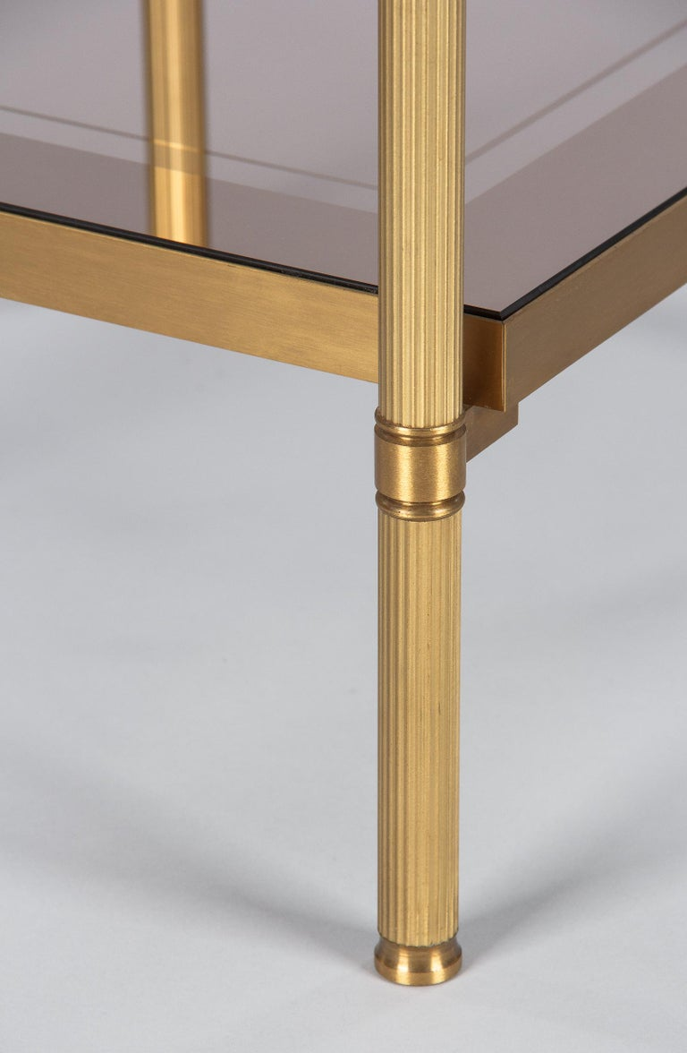 Midcentury French Two-Tier Brass and Glass Side Table, 1950s For Sale 9