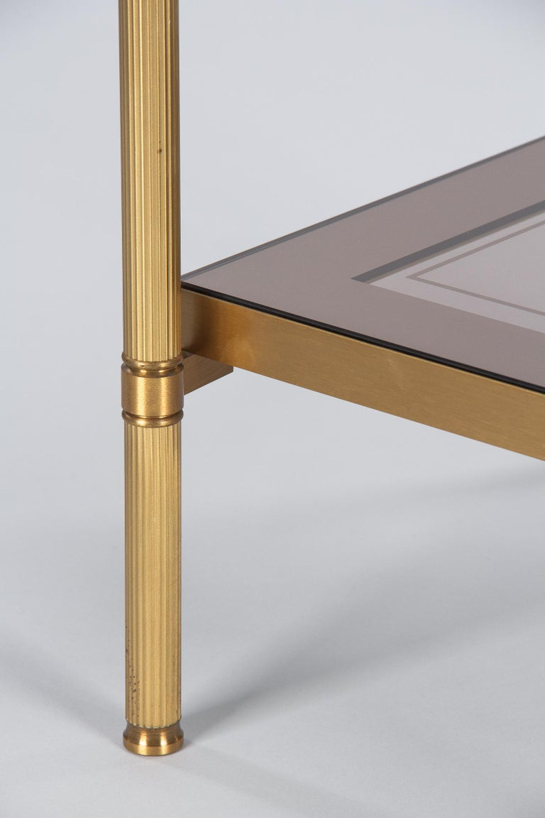 Midcentury French Two-Tier Brass and Glass Side Table, 1950s For Sale 10