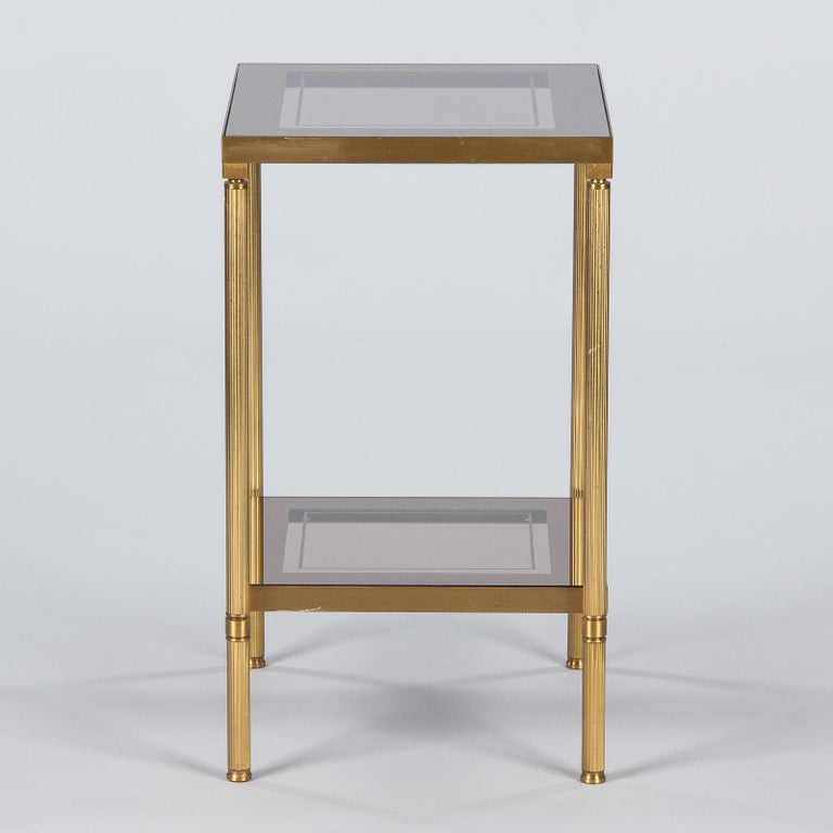 Midcentury French Two-Tier Brass and Glass Side Table, 1950s For Sale 11