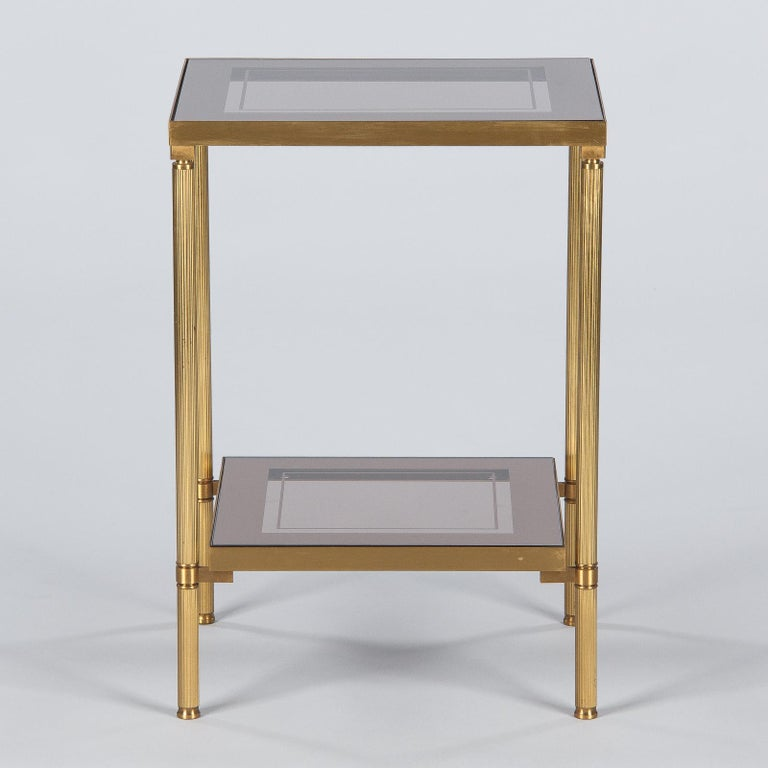 Midcentury French Two-Tier Brass and Glass Side Table, 1950s For Sale 12
