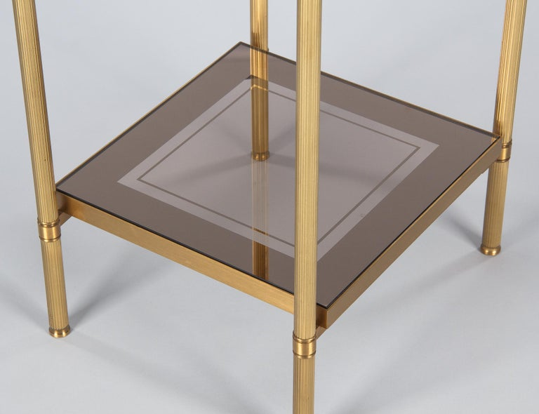 Midcentury French Two-Tier Brass and Glass Side Table, 1950s In Good Condition For Sale In Austin, TX