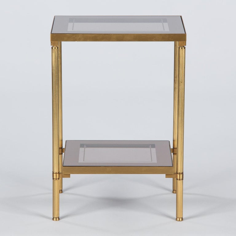 20th Century Midcentury French Two-Tier Brass and Glass Side Table, 1950s For Sale