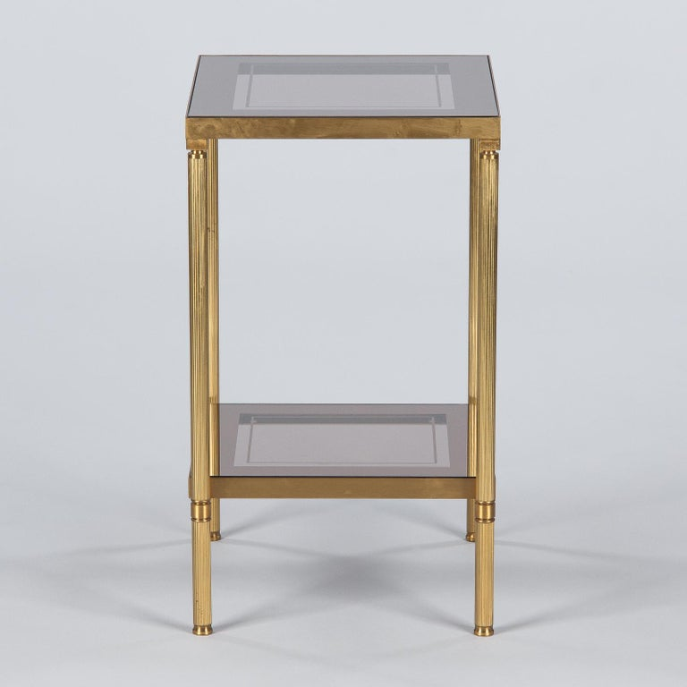 Midcentury French Two-Tier Brass and Glass Side Table, 1950s For Sale 1