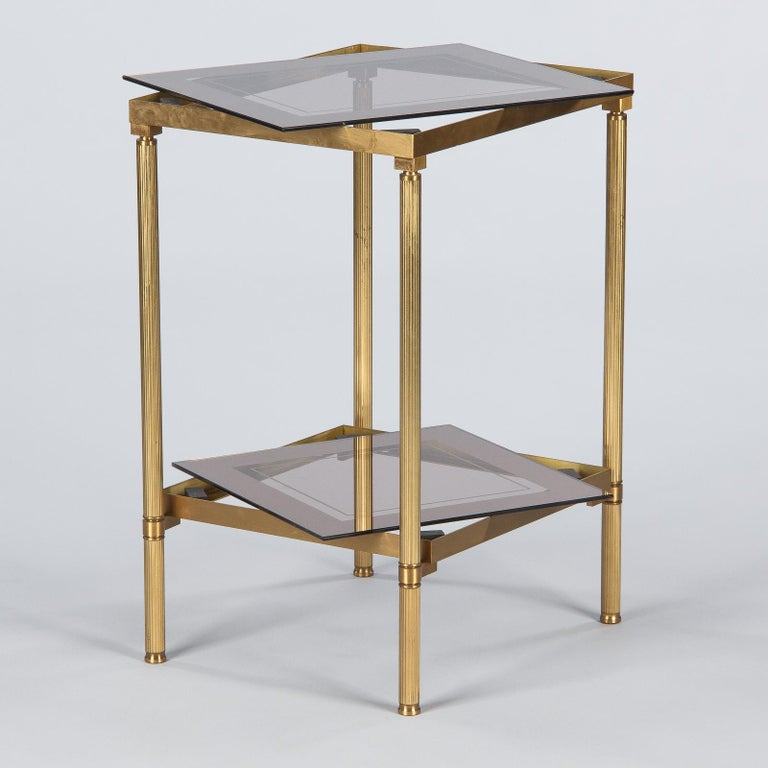 Midcentury French Two-Tier Brass and Glass Side Table, 1950s For Sale 2