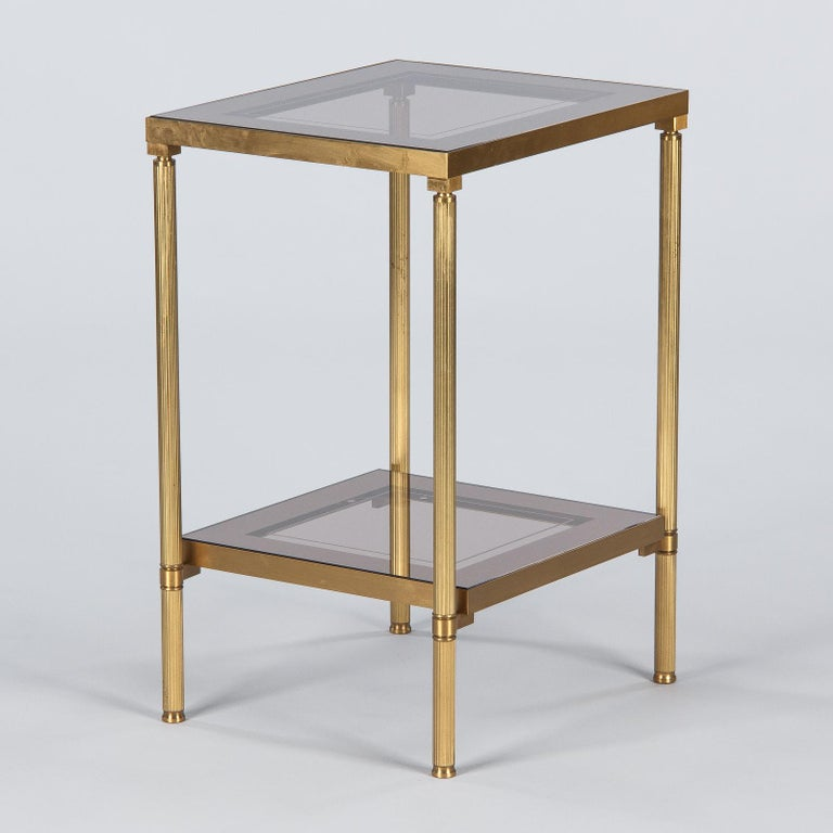 Midcentury French Two-Tier Brass and Glass Side Table, 1950s For Sale 3