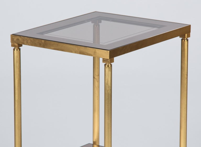Midcentury French Two-Tier Brass and Glass Side Table, 1950s For Sale 4