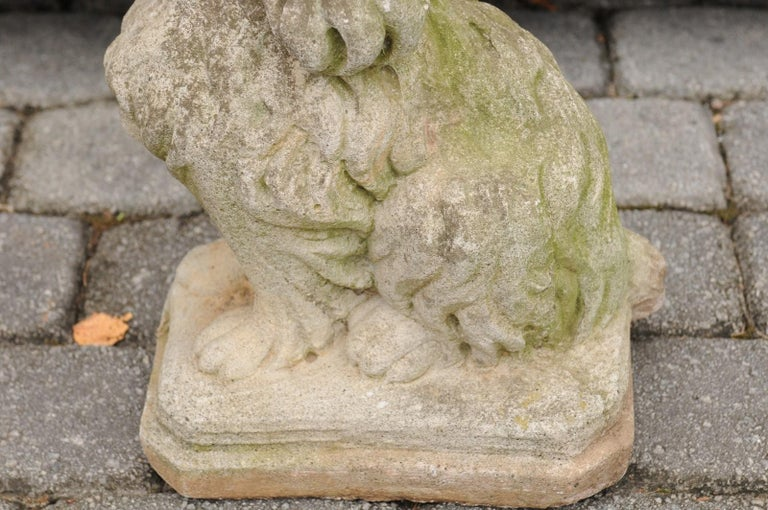 Midcentury French Vintage Carved Stone Dog Sculpture with Weathered Patina For Sale 6