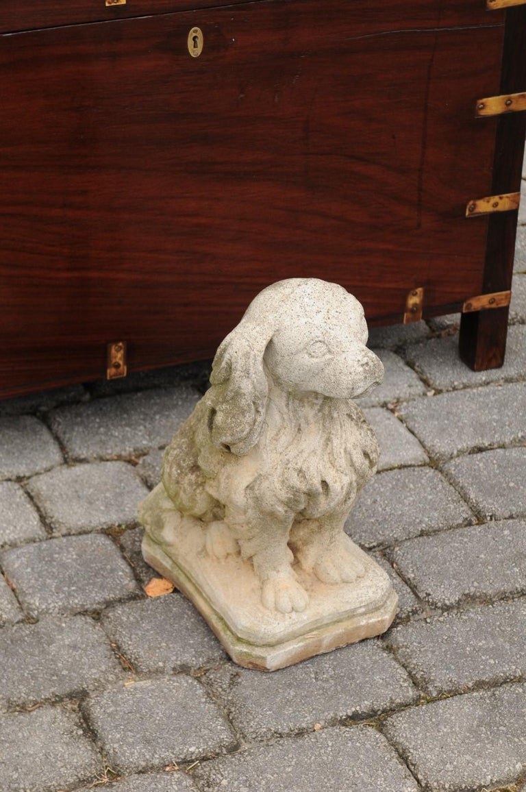 Midcentury French Vintage Carved Stone Dog Sculpture with Weathered Patina In Good Condition For Sale In Atlanta, GA