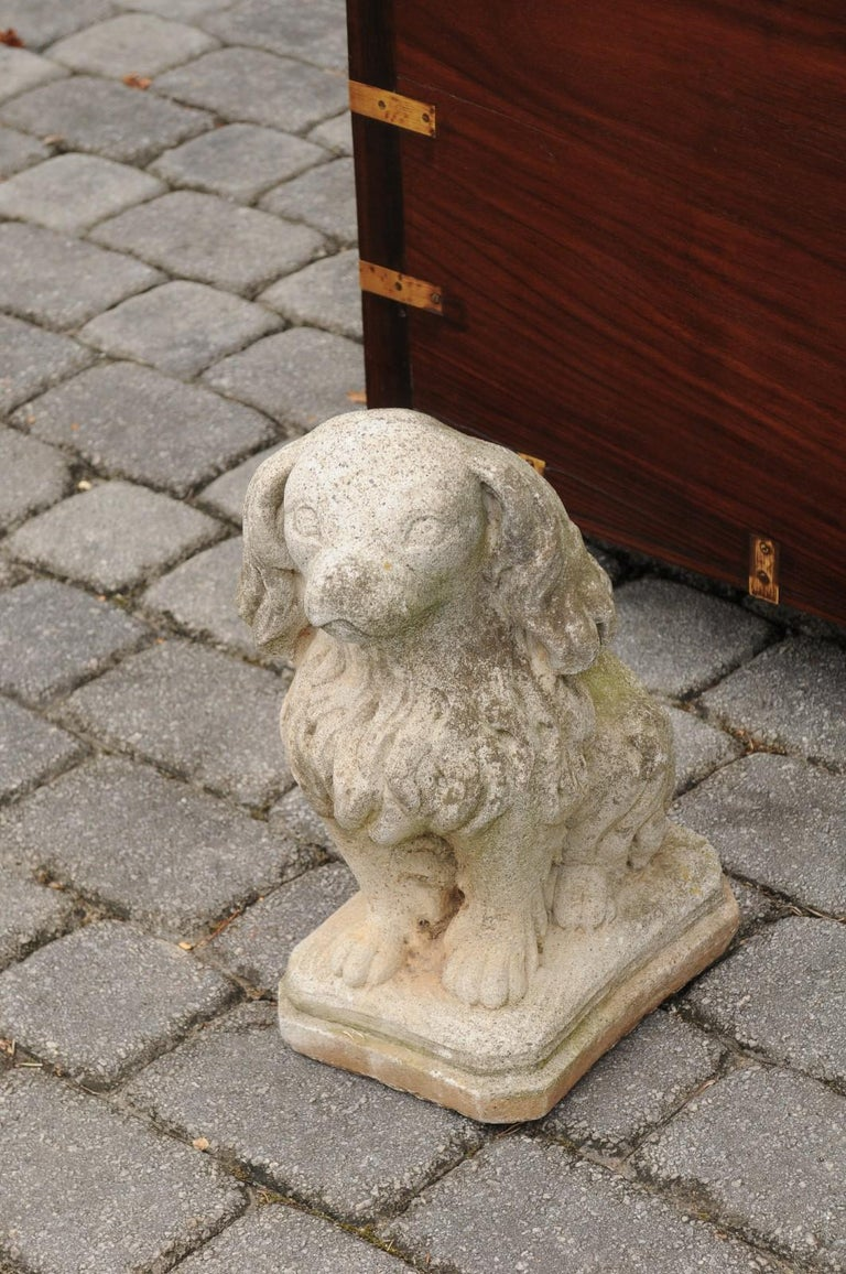 20th Century Midcentury French Vintage Carved Stone Dog Sculpture with Weathered Patina For Sale
