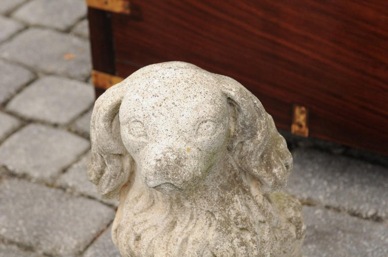 Midcentury French Vintage Carved Stone Dog Sculpture with Weathered Patina For Sale 1