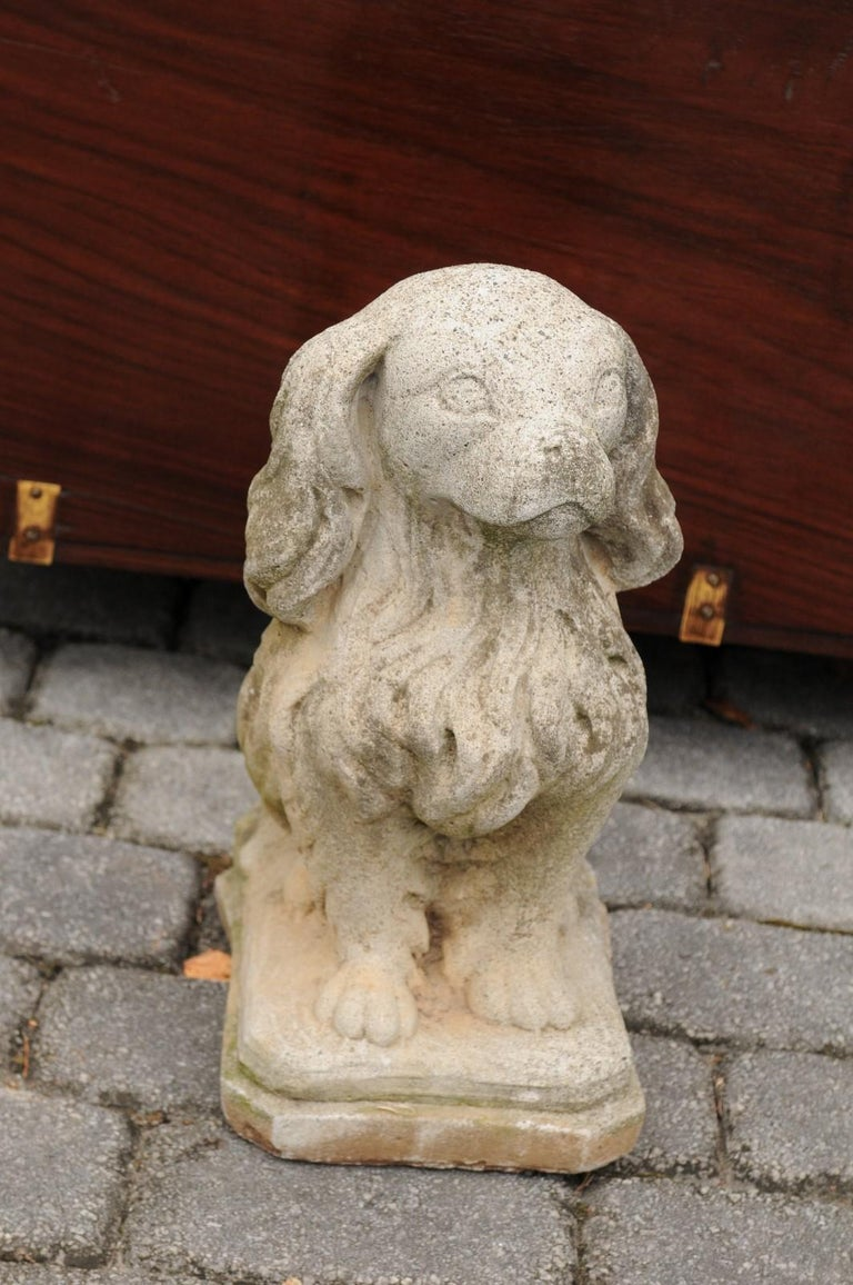 Midcentury French Vintage Carved Stone Dog Sculpture with Weathered Patina For Sale 2