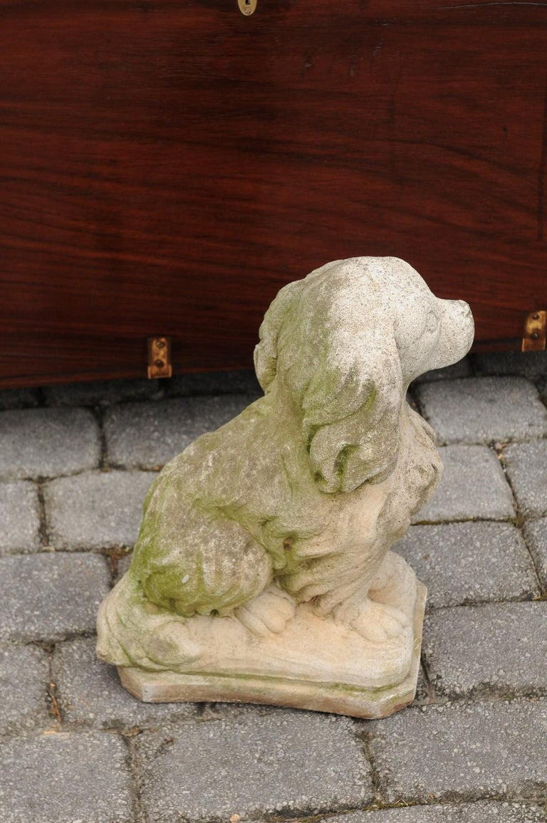 Midcentury French Vintage Carved Stone Dog Sculpture with Weathered Patina For Sale 3