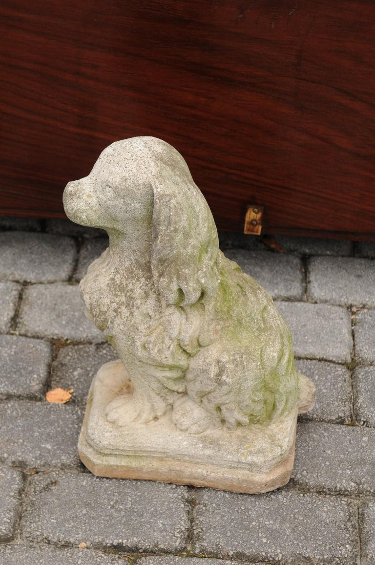 Midcentury French Vintage Carved Stone Dog Sculpture with Weathered Patina For Sale 5