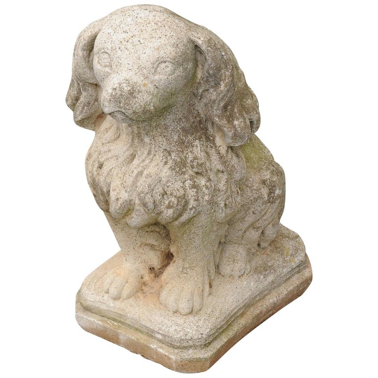 Midcentury French Vintage Carved Stone Dog Sculpture with Weathered Patina For Sale