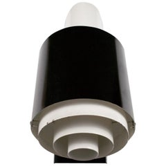 Midcentury French Wall Lamp Jackfluor by Novalux, Black and White Metal, 1950s