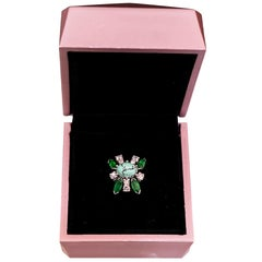 Midcentury French White Gold Ring with 8 Diamonds, 4 Emeralds and One Turquoise